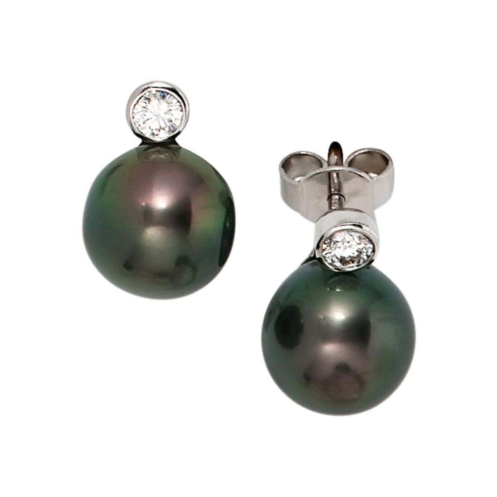 JOBO Perlenohrringe, 585 Weißgold 2 Diamanten und Tahiti-Zuchtperlen