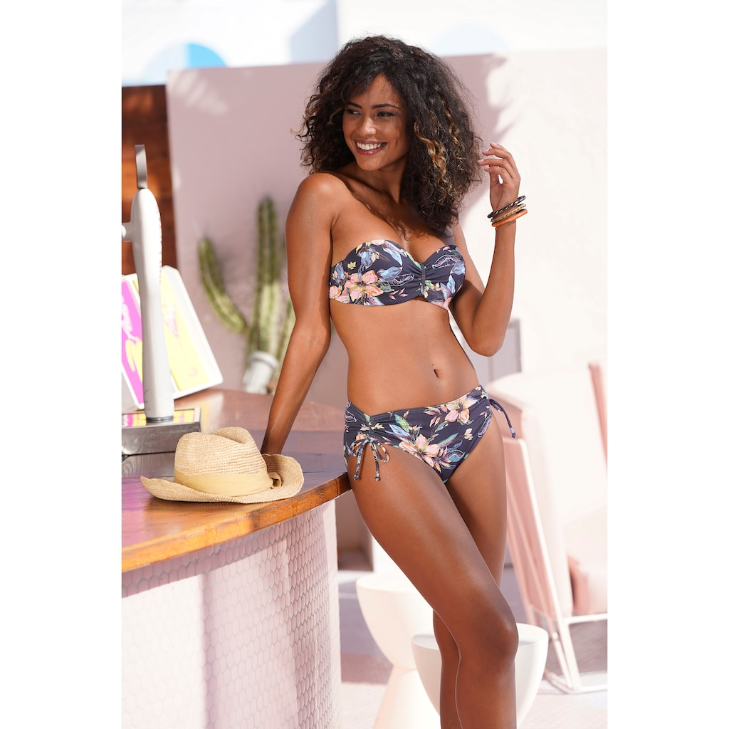 LASCANA Bügel-Bandeau-Bikini-Top »Malia«, mit tropischem Print