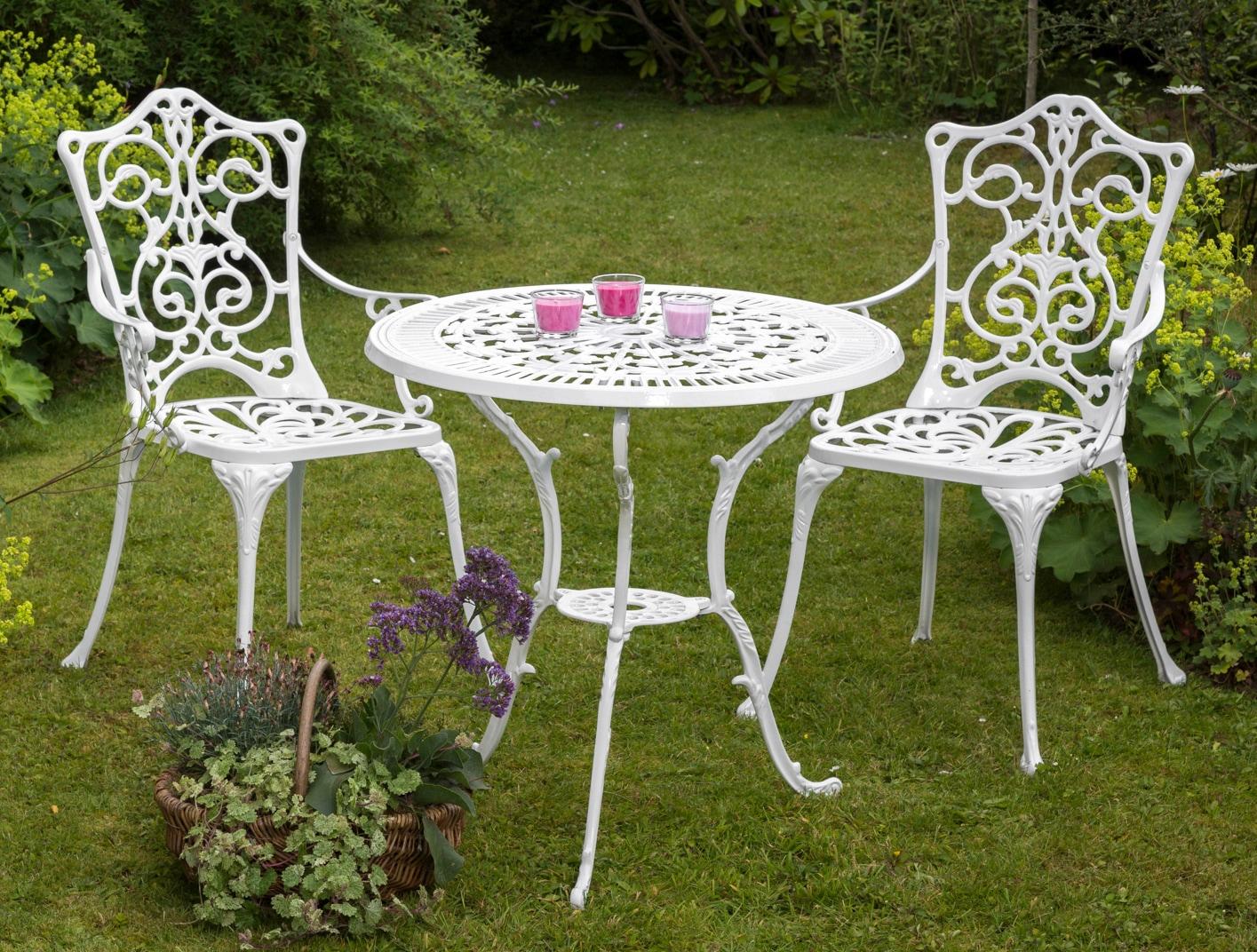 MERXX Gartenmöbelset Lugano 3tlg 2 Stühle Tisch Ø 70 Aluminium