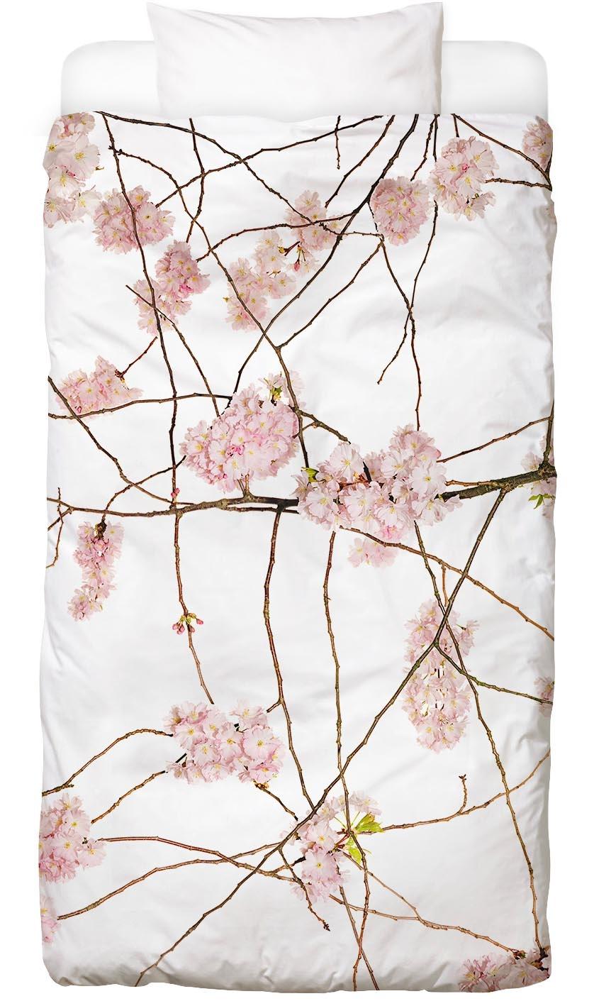 Bettwäsche Flora - Japanische Kirsche, Juniqe, weiß