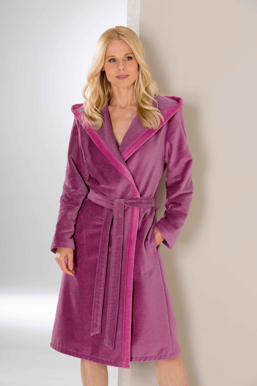 Damenbademantel, Cawö, »Two-Tone«, mit feinen Streifen   Bekleidung > Bademode > Bademäntel   Rot   Baumwolle   CAWÖ