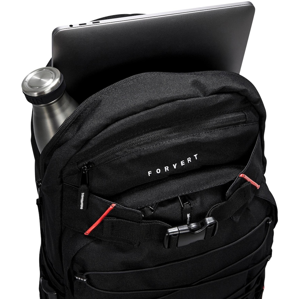 forvert Laptoprucksack »Study Louis, black«, Reflektoren