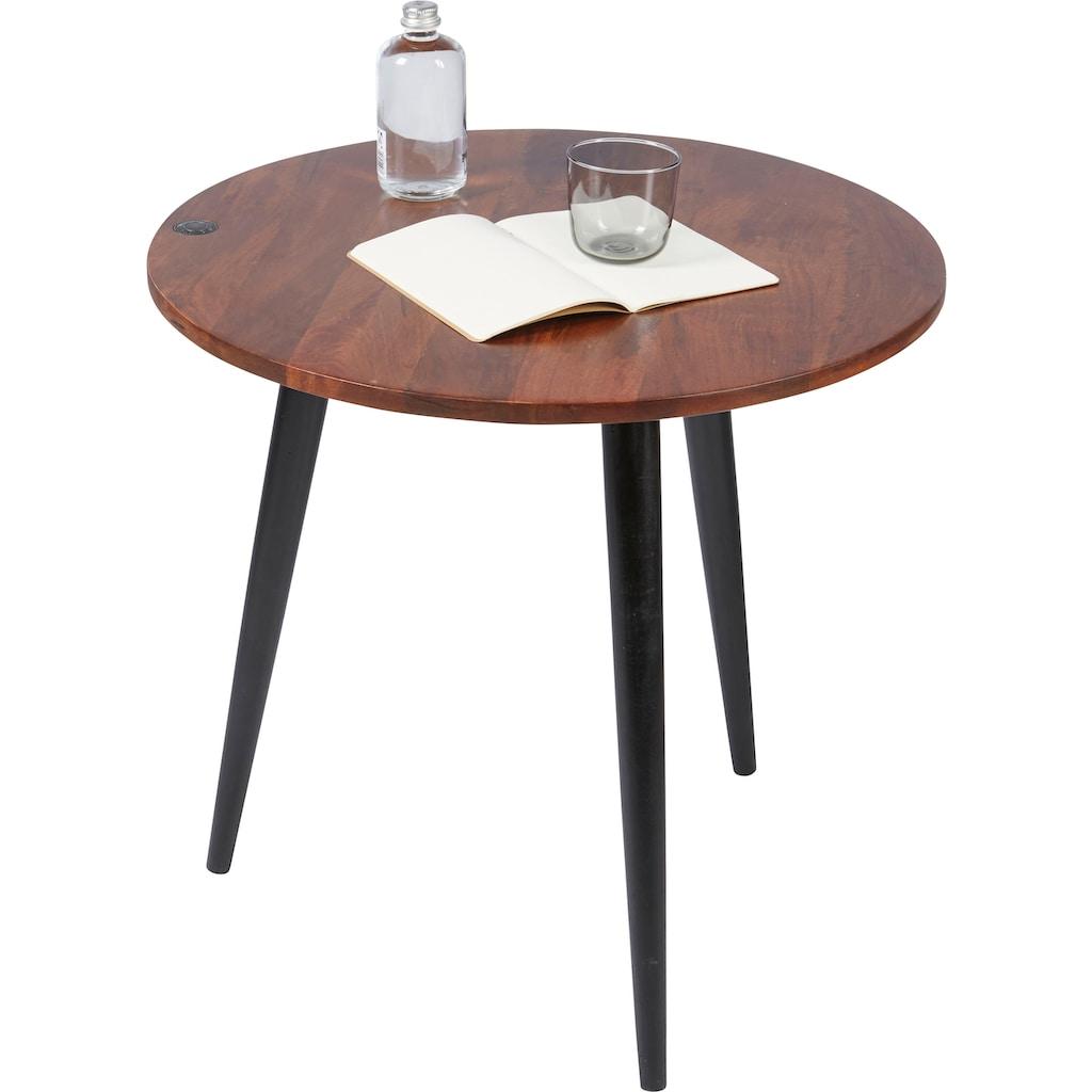 TOM TAILOR Beistelltisch »T-WOOD TABLE HIGH«, hoher Beistelltisch mit Knopfdetail, dunkles Mangoholz und schwarze Beine