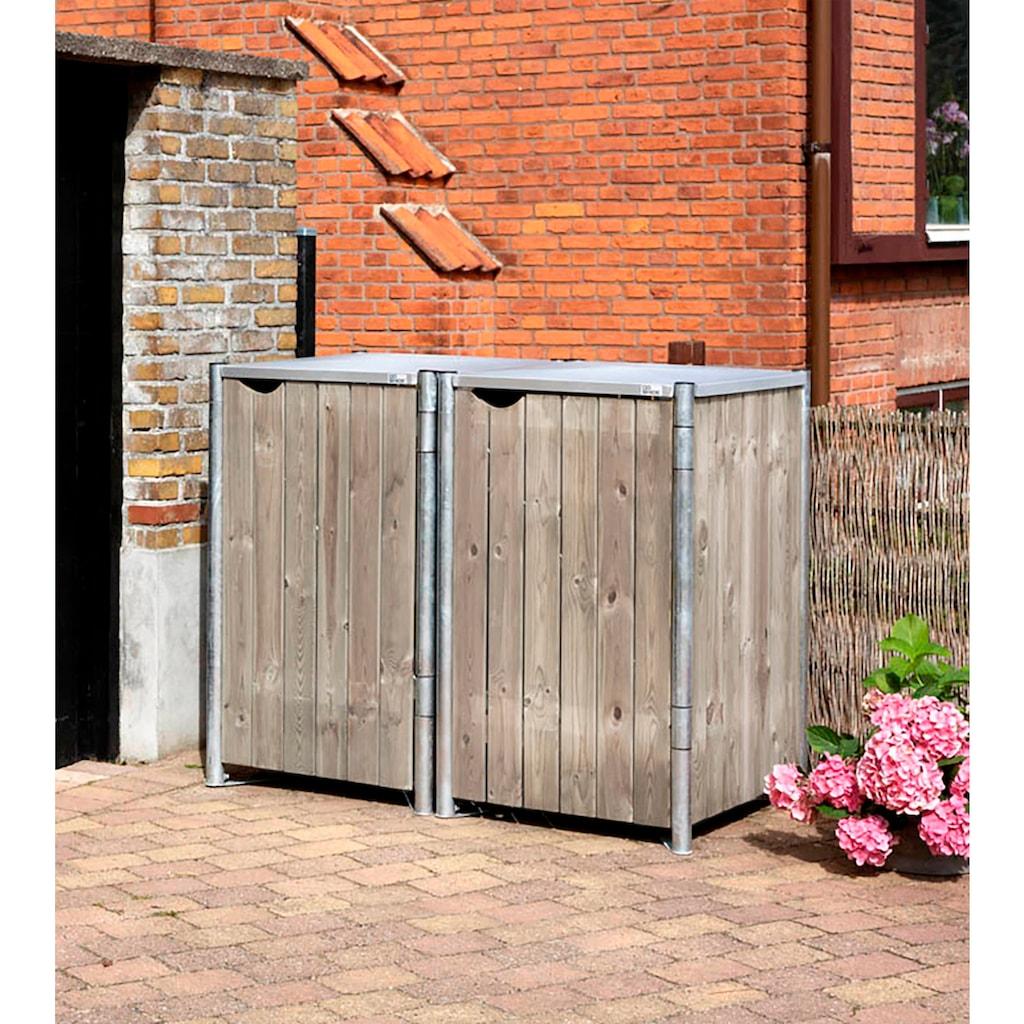 HIDE Mülltonnenbox für 2 x 240 l, grau/natur