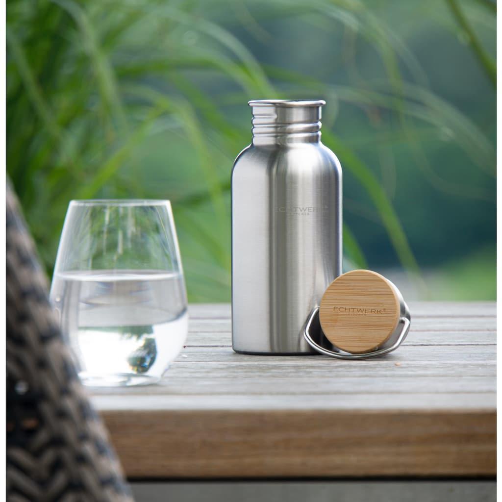 ECHTWERK Trinkflasche, Bambusdeckel