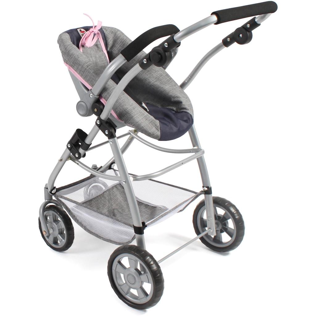 CHIC2000 Kombi-Puppenwagen »Emotion All In 3in1, Grau-Navy«, inkl. Babywanne, Babyschale und Sportwagenaufsatz