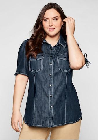Sheego Jeansbluse, mit kurzen, gerafften Ärmeln kaufen