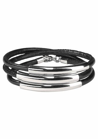 J.Jayz Wickelarmband »schwarzes Armband zum Wickeln mit Naht und 3 Metallelementen« kaufen