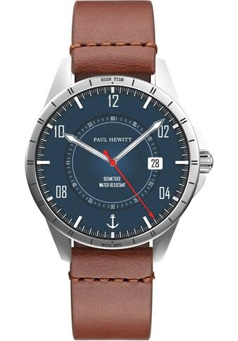 PAUL HEWITT Quarzuhr »Tide Runner Marineblau Silber Leder Braun und Nato Marineblau, PH002830« (Set, 2 tlg., mit Wechselband) kaufen