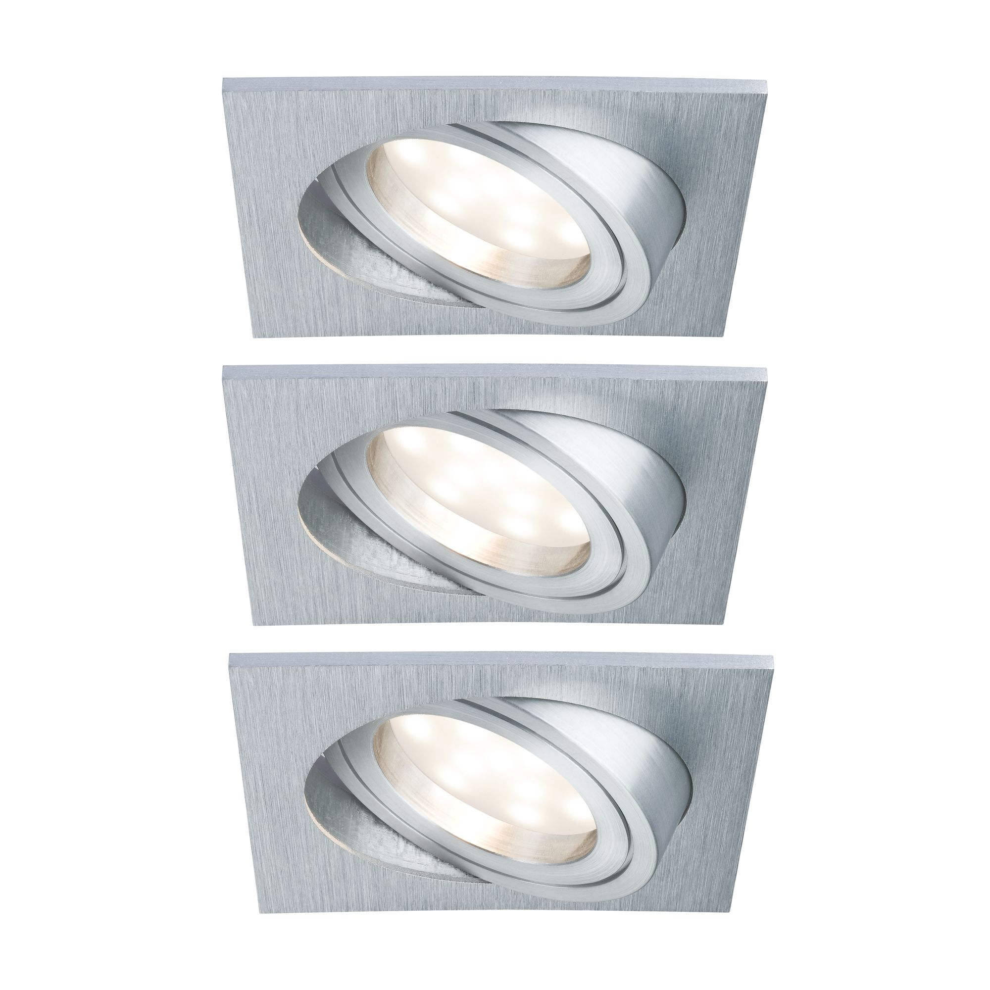 Paulmann LED Einbaustrahler 3er-Set Coin schwenkbar und dimmbar satiniert eckig 7W Alu, 3 St., Warmweiß