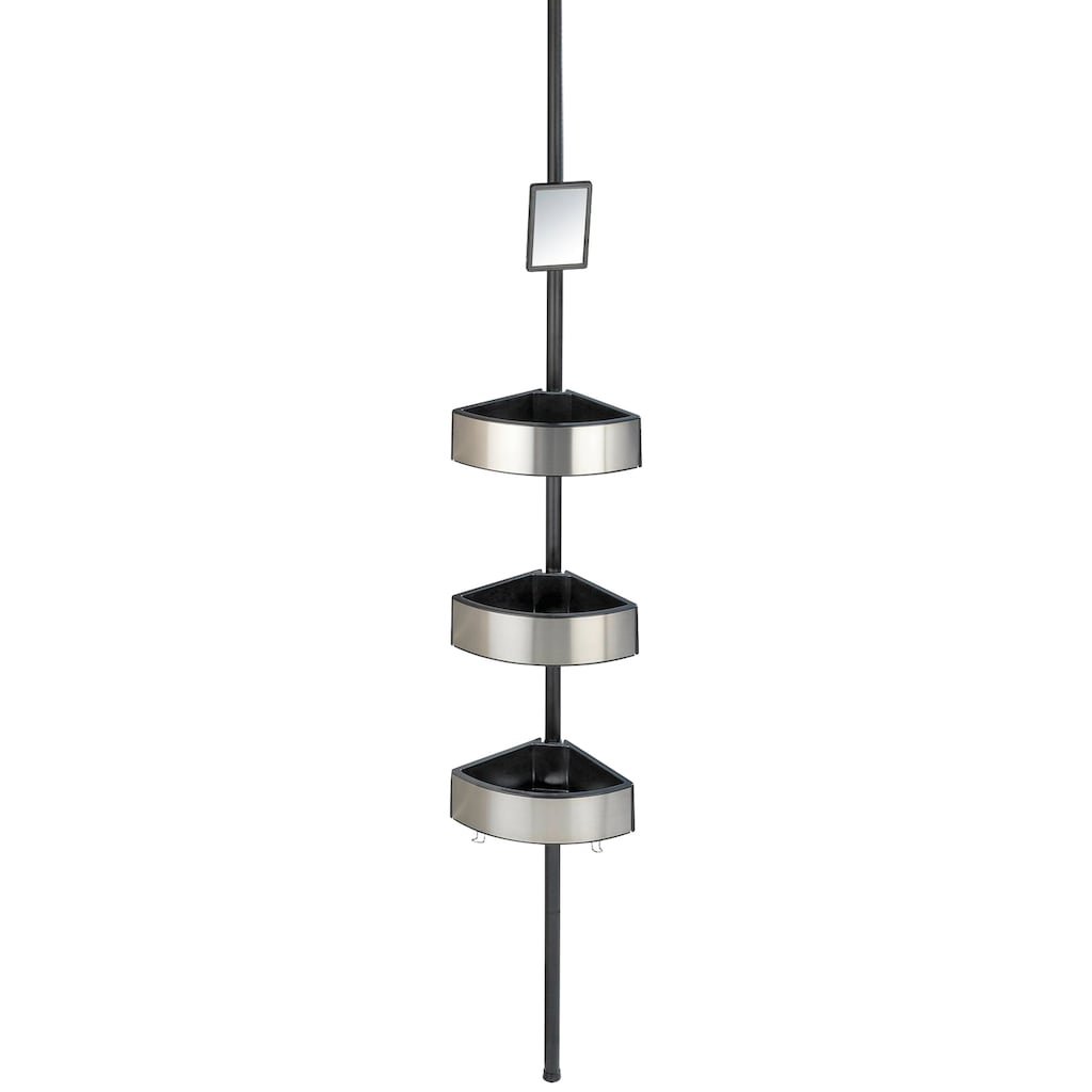 WENKO Duschregal »Premium Big Black«, (1 St.), 3 Ablagen, mit Spiegel, höhenverstellbar 70-260 cm