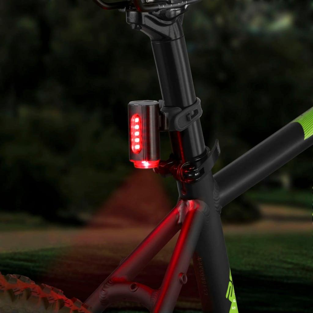FISCHER Fahrräder Fahrradbeleuchtung, (Set, 3, Front- und Rücklicht), mit zusätzlicher Bodenleuchte
