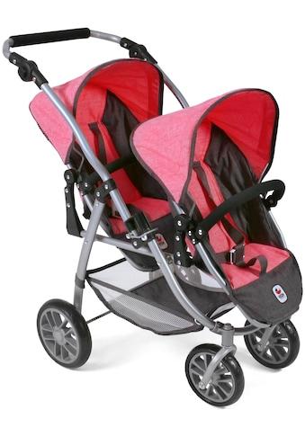 CHIC2000 Puppen-Zwillingsbuggy »Tandem-Puppen-Buggy Vario, anthrazit-pink«, mit... kaufen