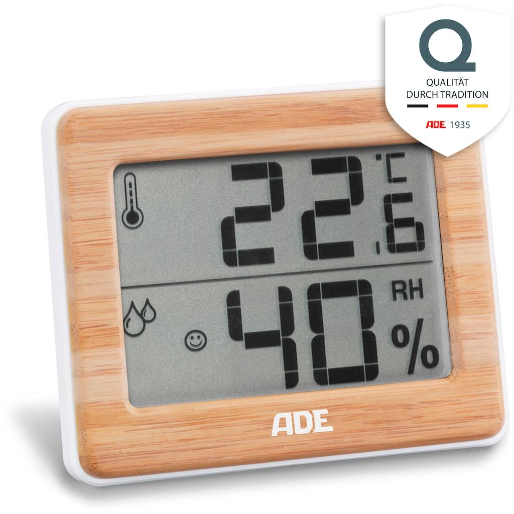 ADE Innenwetterstation »WS 1702«, Thermo-Hygrometer kompakt mit Bambus-Rahmen