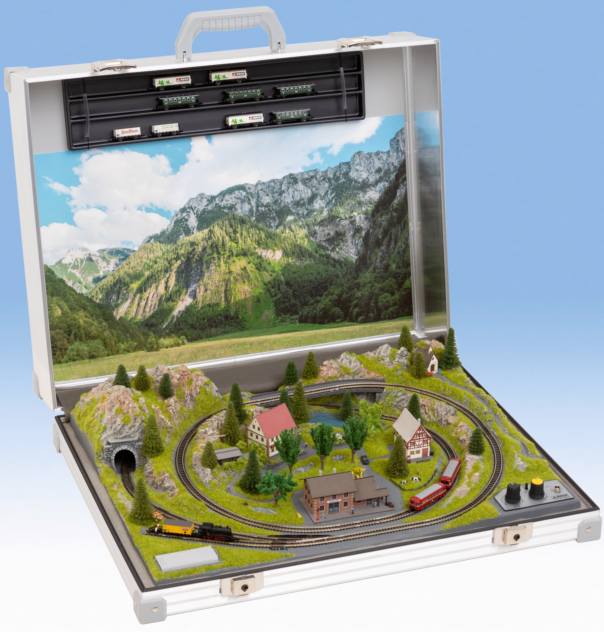 NOCH Modelleisenbahn-Set Modellbahnkoffer Serfaus, Made in Germany silberfarben Kinder Modelleisenbahn-Sets Modelleisenbahnen Autos, Eisenbahn Modellbau