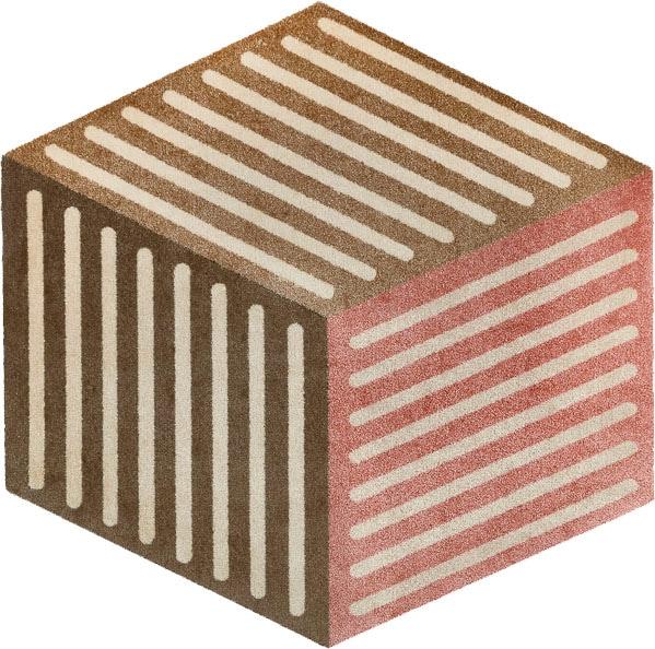 Teppich, Puzzle Cube, wash+dry by Kleen-Tex, sechseckig, Höhe 9 mm, gedruckt braun Kinder Bunte Kinderteppiche Teppiche