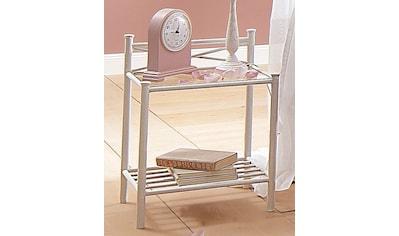 Home affaire Nachttisch »Thora«, aus einem schönem Metallgestell, mit einer Glasplatten Ablage, Höhe 58 cm kaufen