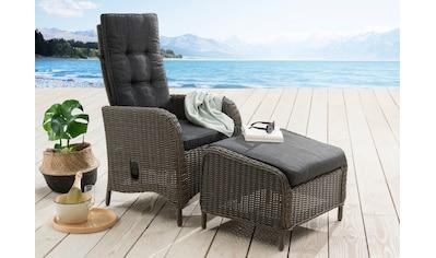DESTINY Gartenmöbelset »Palma HL/Casa«, 2 - tlg., Sessel, verstellbar, Fußhocker, Alu/Polyrattan kaufen
