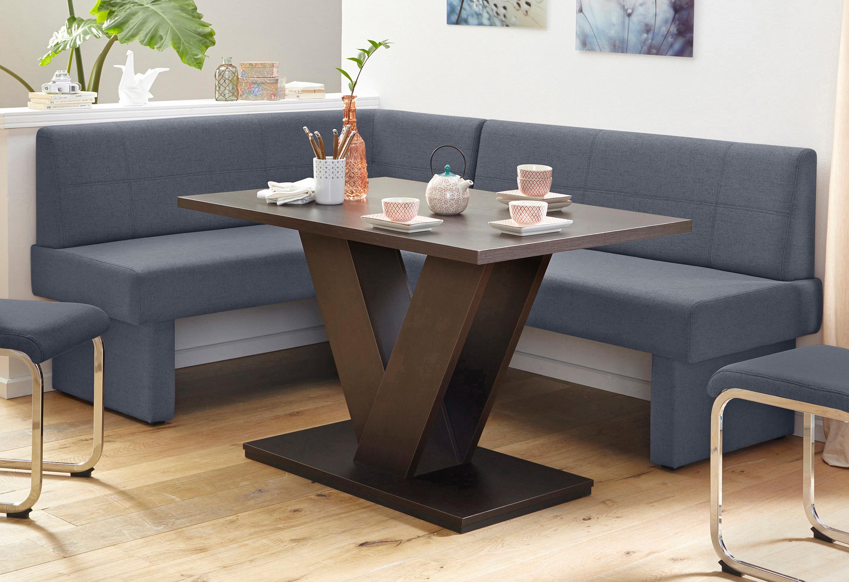 Eckbank mit Webstoff, Breite 202 cm | Küche und Esszimmer > Sitzbänke > Eckbänke | Massivholz - Strukturstoff - Webstoff - Polyester