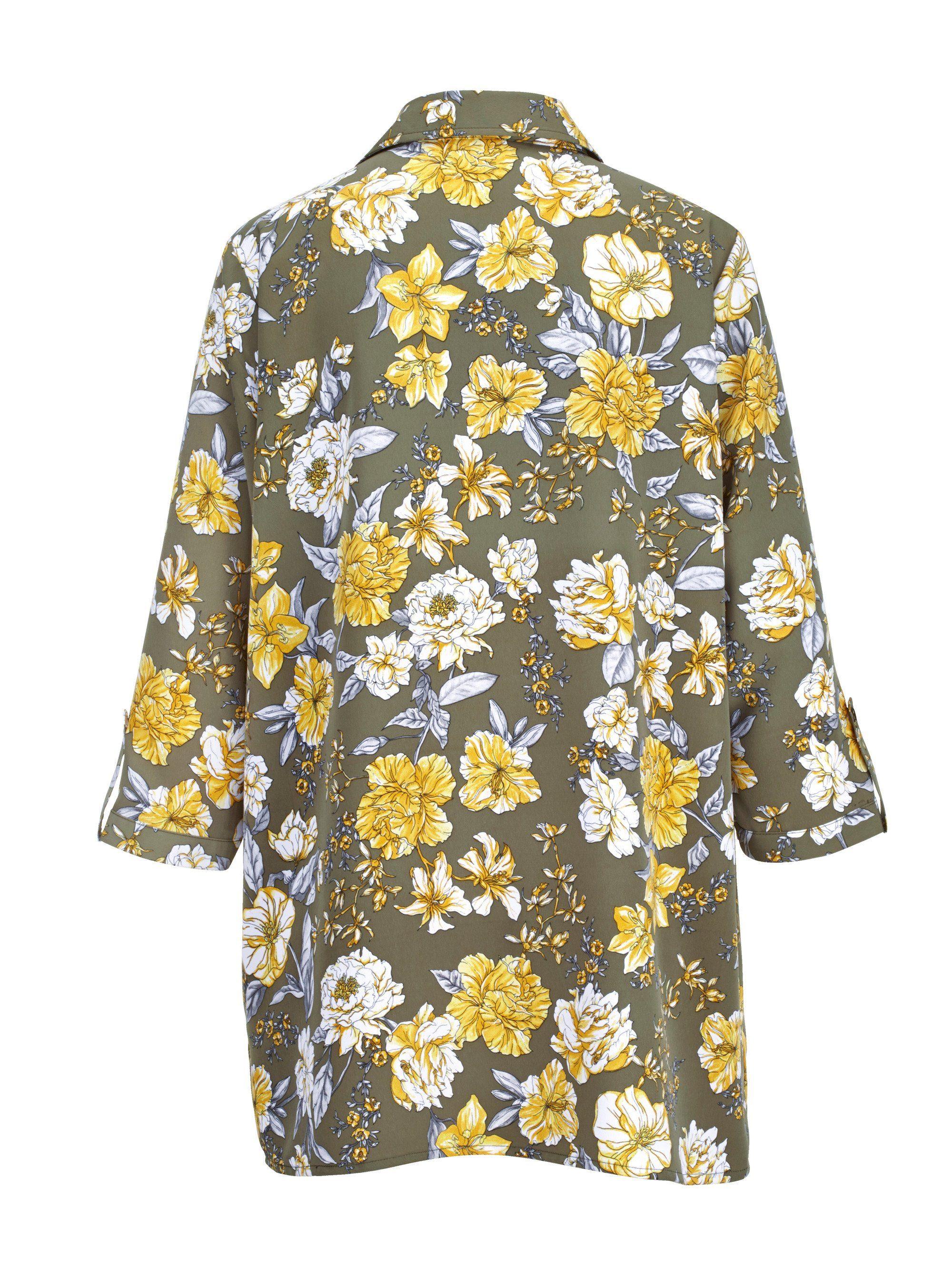 m collection Bluse mit Blüten-Druckmuster rundum