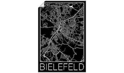 Artland Wandbild »Retro Karte Bielefeld Schwarz«, Deutschland, (1 St.), in vielen Größen & Produktarten - Alubild / Outdoorbild für den Außenbereich, Leinwandbild, Poster, Wandaufkleber / Wandtattoo auch für Badezimmer geeignet kaufen
