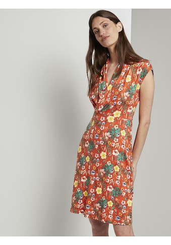 TOM TAILOR Blusenkleid »Sommerliches Kleid mit drapiertem Wickel-Ausschnitt« kaufen