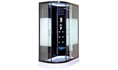 Komplettdusche »Black Pearl L«, BxT: 120x80 cm, mit Tropenbrause, Beleuchtung und Radio kaufen