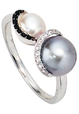JOBO Diamantring, 585 Weißgold mit 2 Süßwasser-Zuchtperlen und 17 Diamanten kaufen