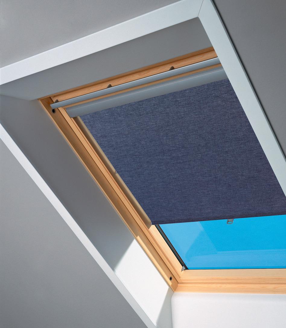 VELUX Dachfensterrollo, Lichtschutz blau Dachfensterrollos Rollos Jalousien Dachfensterrollo