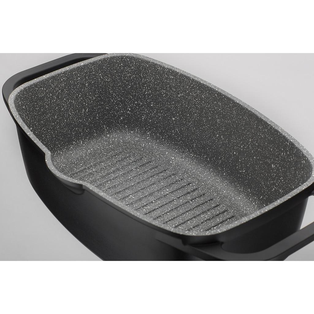 GSW Topf-Set »Gourmet Granit«, Aluminiumguss, (Set, 5 tlg., 3 Pfannen, 1 Bräter, 1 Kochzange), Induktion