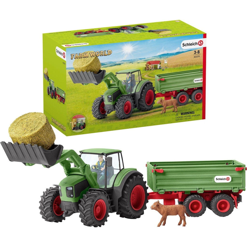 Schleich® Spielzeug-Traktor »Farm World, Traktor mit Anhänger (42379)«, Made in Germany