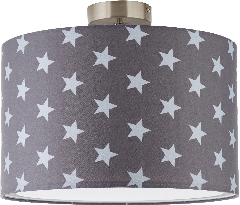 Lüttenhütt Deckenleuchte Steern, E27, Deckenlampe mit Sterne - Stoffschirm Ø 40 cm, grau / hellgrau, Höhe 32 cm