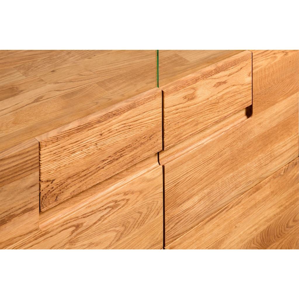 andas Stauraumvitrine »Freyr«, aus massivem Eichenholz und einer Push-To-Open-Funktion, inklusive einer Hintergrundbeleuchtung, Breite 100 cm