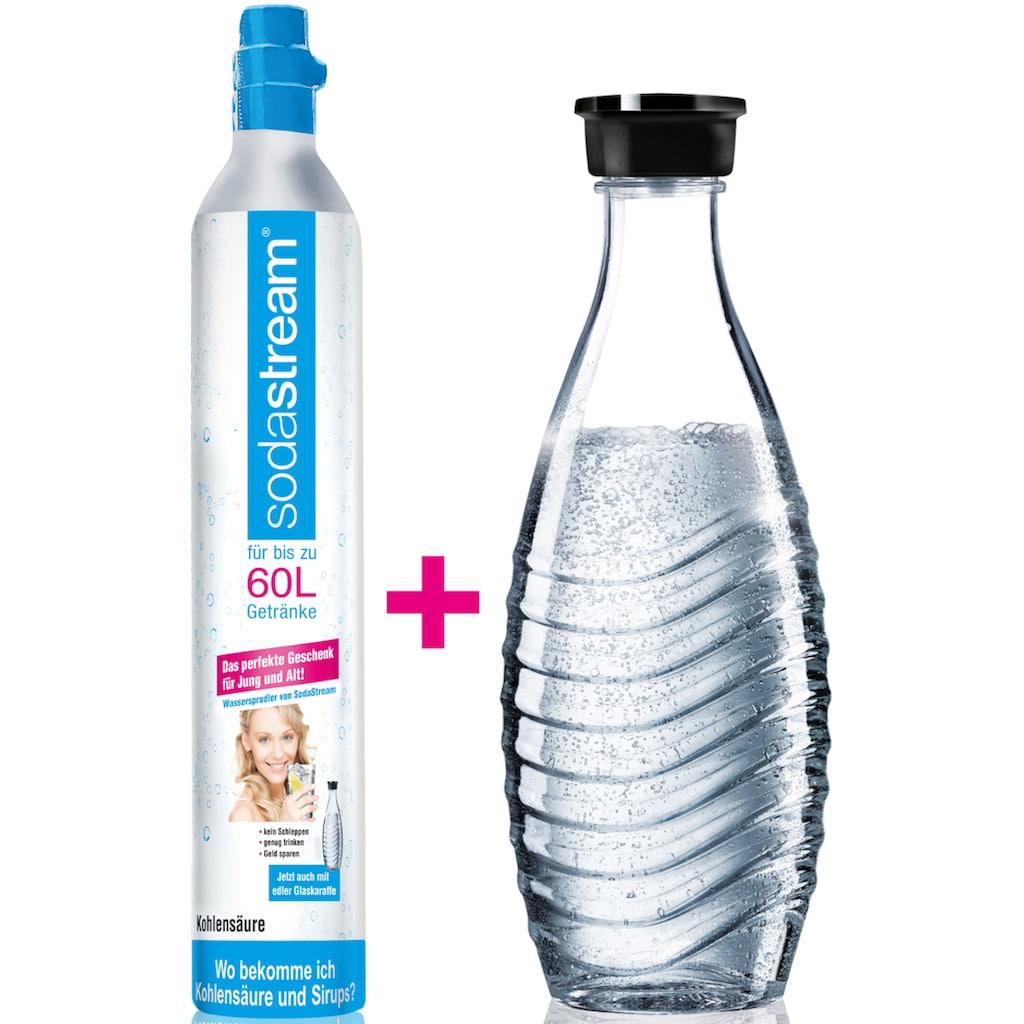 SodaStream Wassersprudler, (Set, 2 tlg.), Reservepack mit 1x CO2-Zylinder und 1x 0,6 L Glaskaraffe