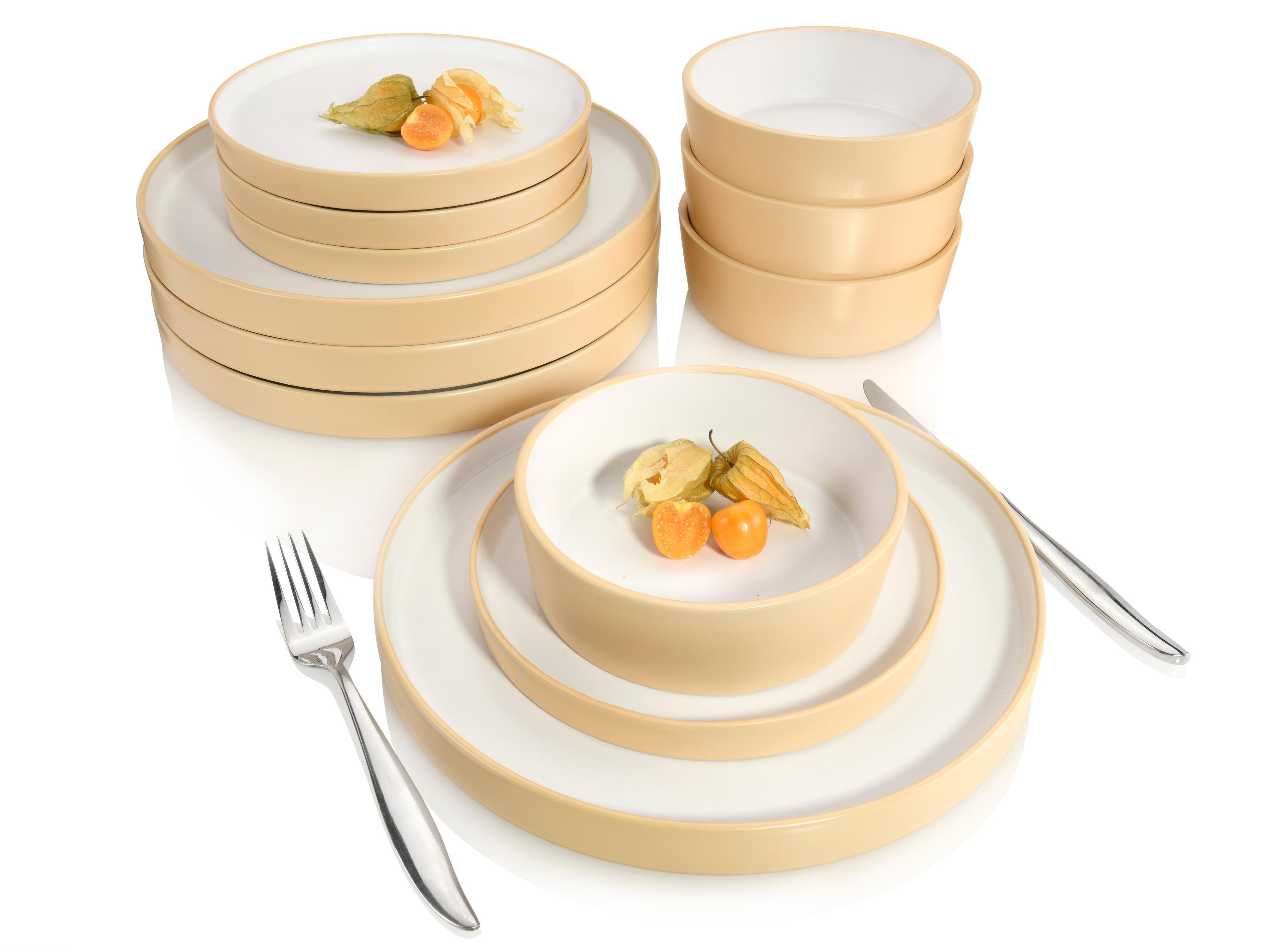 SÄNGER Kombiservice Oslo, (12 tlg., Geschirrservice Oslo aus Porzellan 12 teilig) weiß Geschirr-Sets Geschirr, Tischaccessoires Haushaltswaren