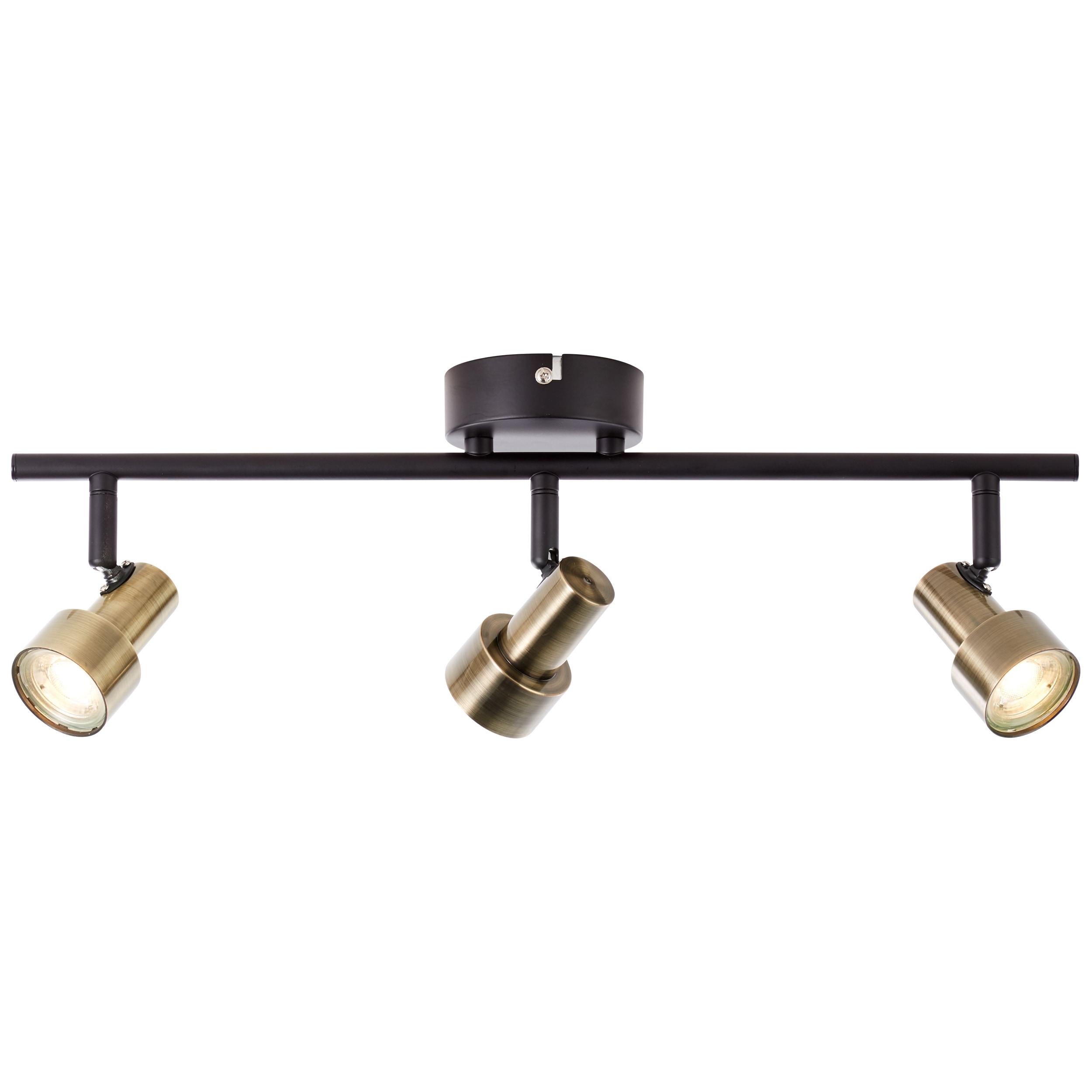Brilliant Leuchten Croyden LED Spotrohr 3flg messing/schwarz