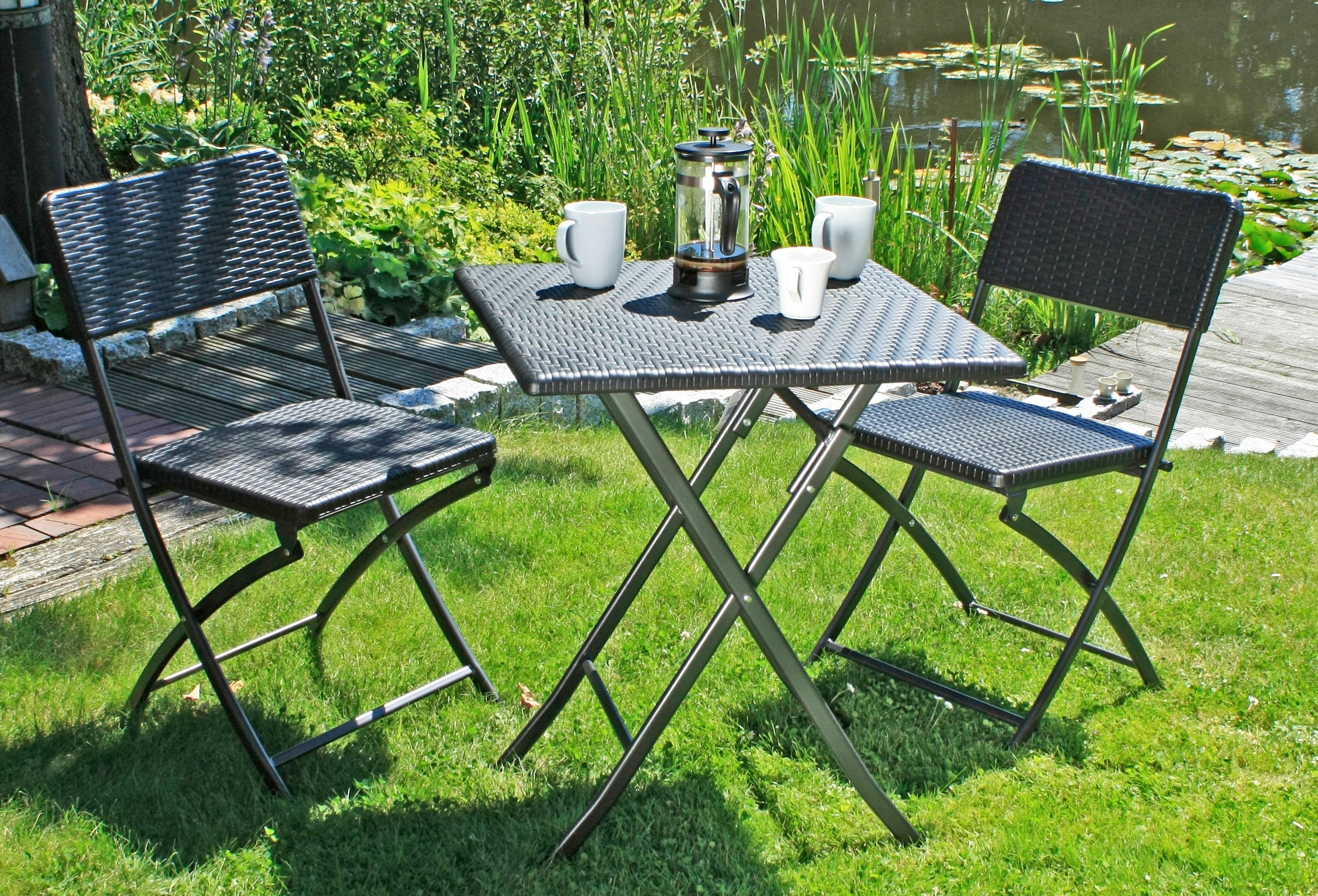 GARDEN PLEASURE Gartenmöbelset VENTANA 3-tlg 2 Stühle Tisch klappbar Kunststoff