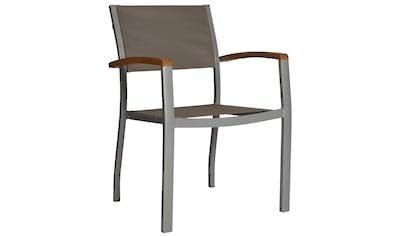 MERXX Gartenstuhl »Monaco«, Aluminium/Textil/Akazie, stapelbar, grau kaufen
