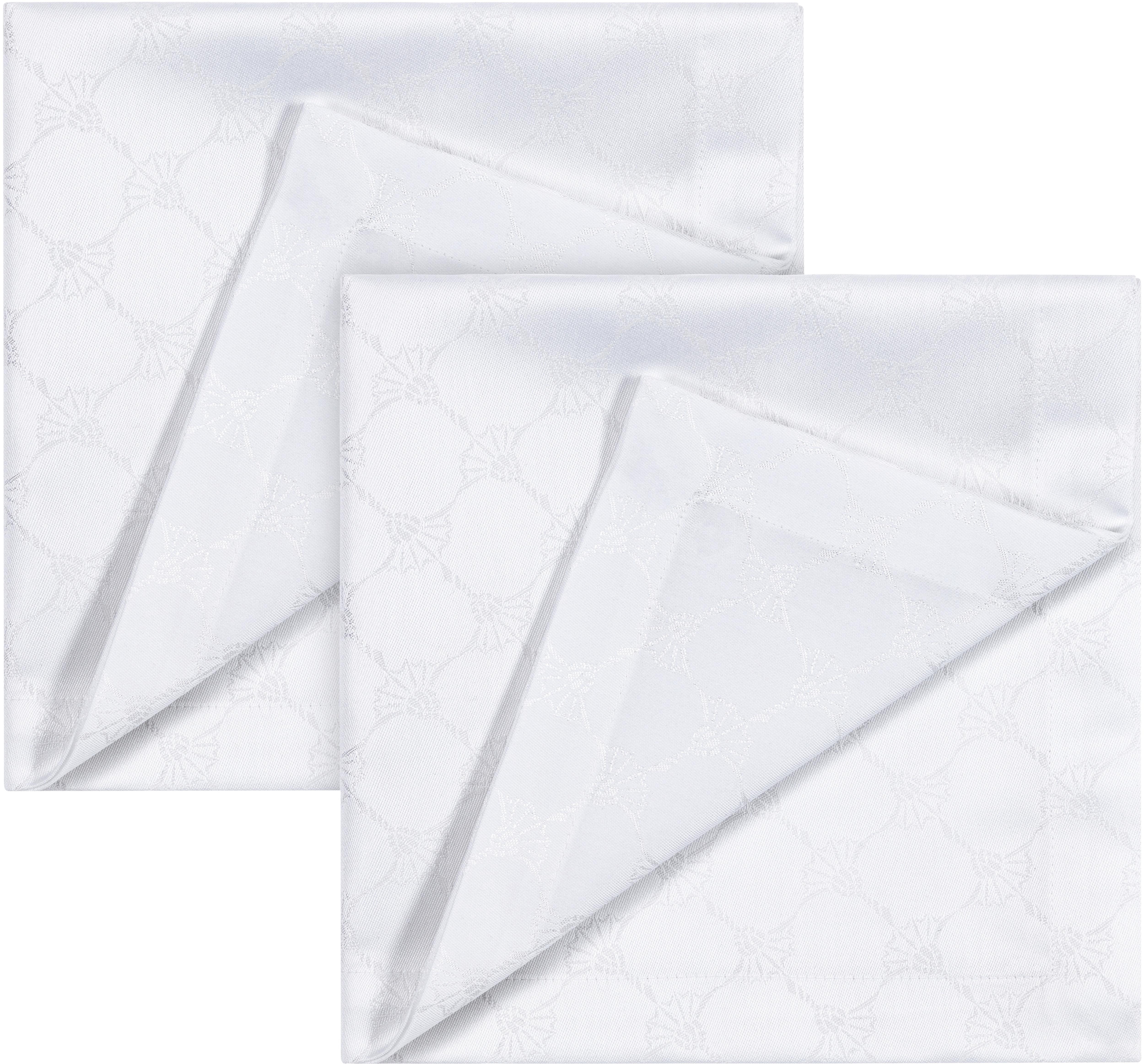 Joop! Joop Stoffserviette CORNFLOWER ALLOVER, (Set, 2 St.), Aus Jacquard-Gewebe gerfertigt mit Kornblumen-Allover-Muster weiß Stoffservietten Tischwäsche