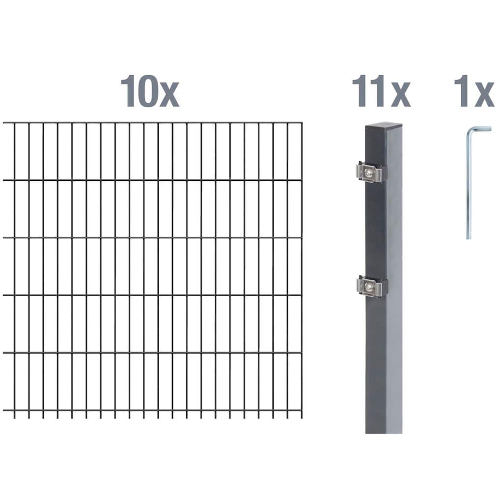 GAH Alberts Doppelstabmattenzaun, 140 cm hoch, 10 Matten für 20 m, 11 Pfosten