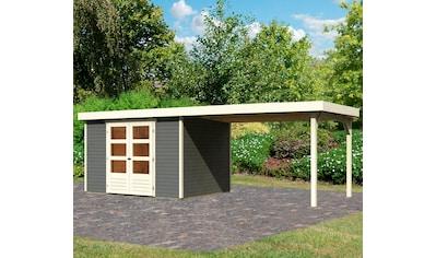 KARIBU Set: Gartenhaus »Arnis 5«, BxT: 592x262 cm, mit Anbau kaufen