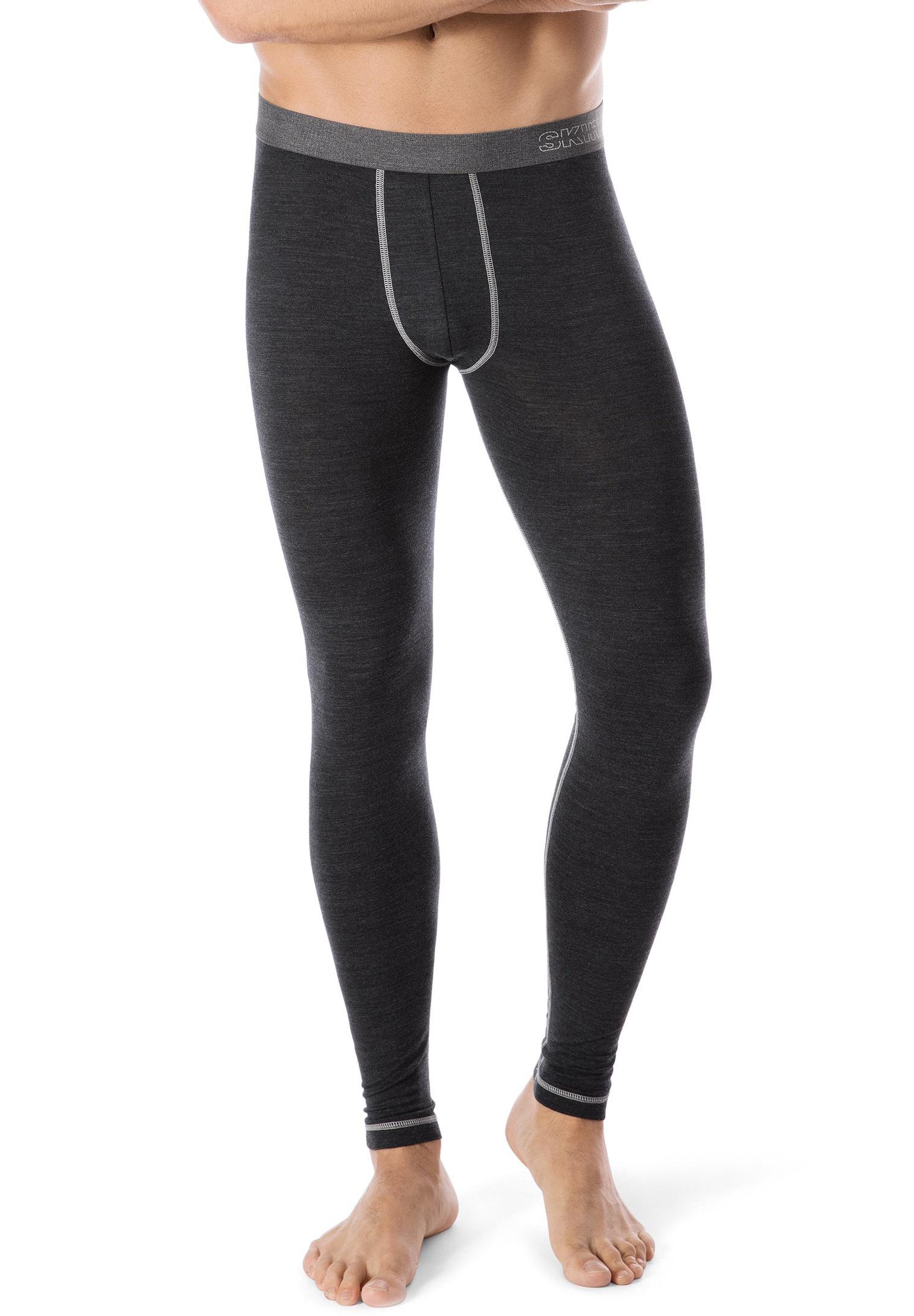 Skiny Lange Unterhose der Active Wool-Serie mit Kontrastnähten | Bekleidung > Wäsche > Slips & Strings | Blau | Elasthan | Skiny