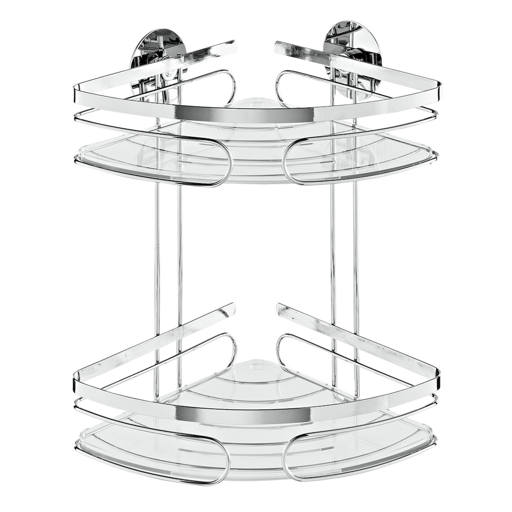 Eckregal mit transparenten herausnehmbaren Einlegeböden