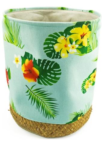 NOOR LIVING Wäschekorb, Geflecht Seegras mit Stoffeinlage und tropischem Design kaufen