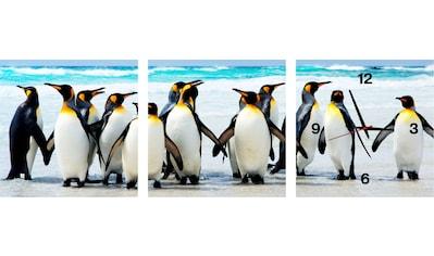 Conni Oberkircher´s Bild »Penguins«, Pinguine, (Set), mit dekorativer Uhr kaufen
