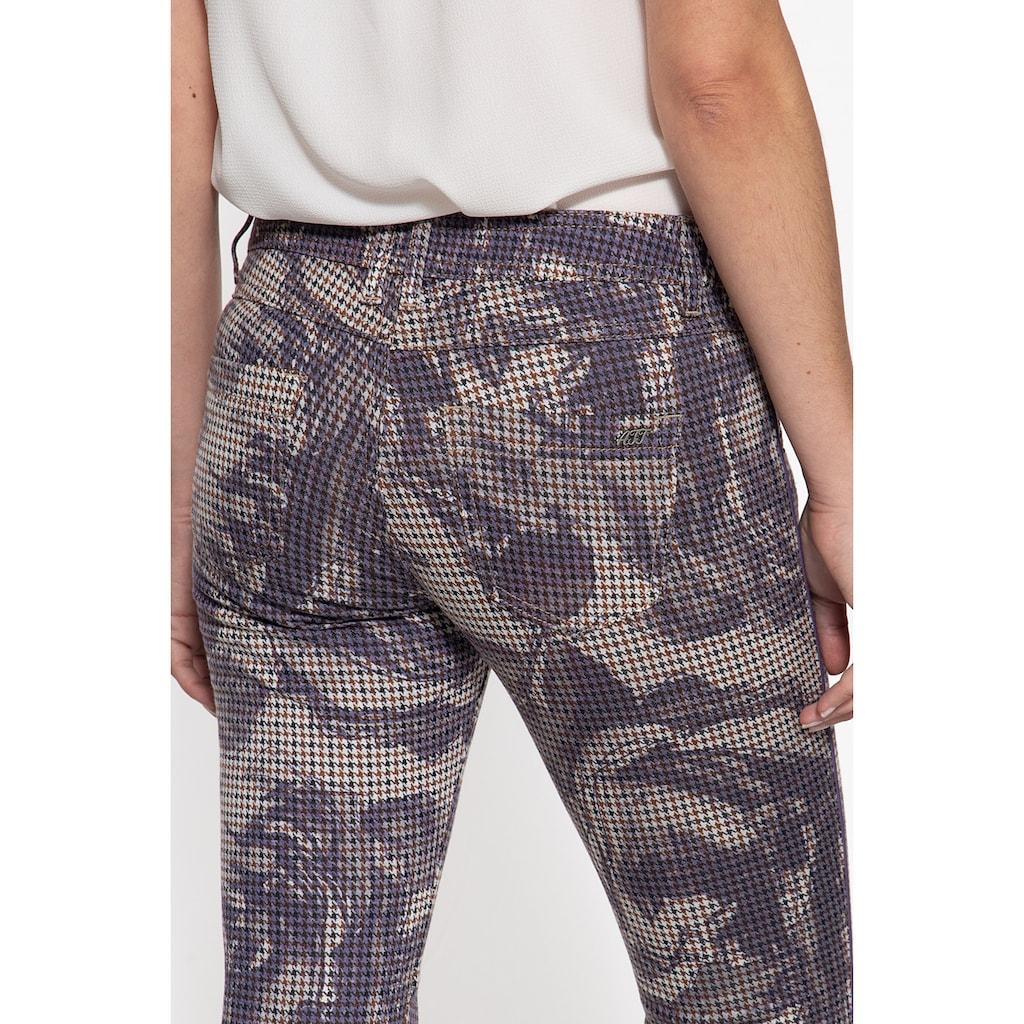 ATT Jeans Stretch-Hose »Lola«, mit Hahnentrittmuster und floralen Akzenten