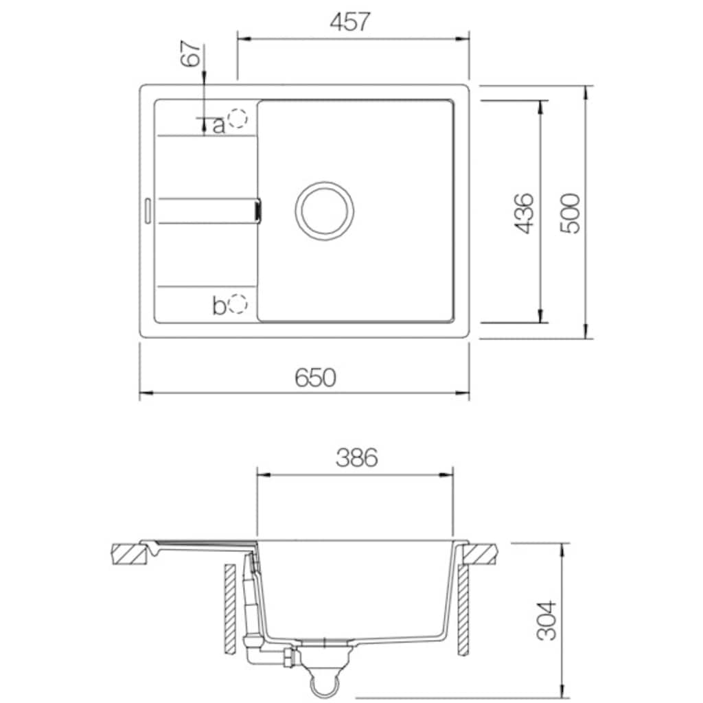 SCHOCK Granitspüle »Lucca Plus«, ohne Restebecken, 65 x 50 cm