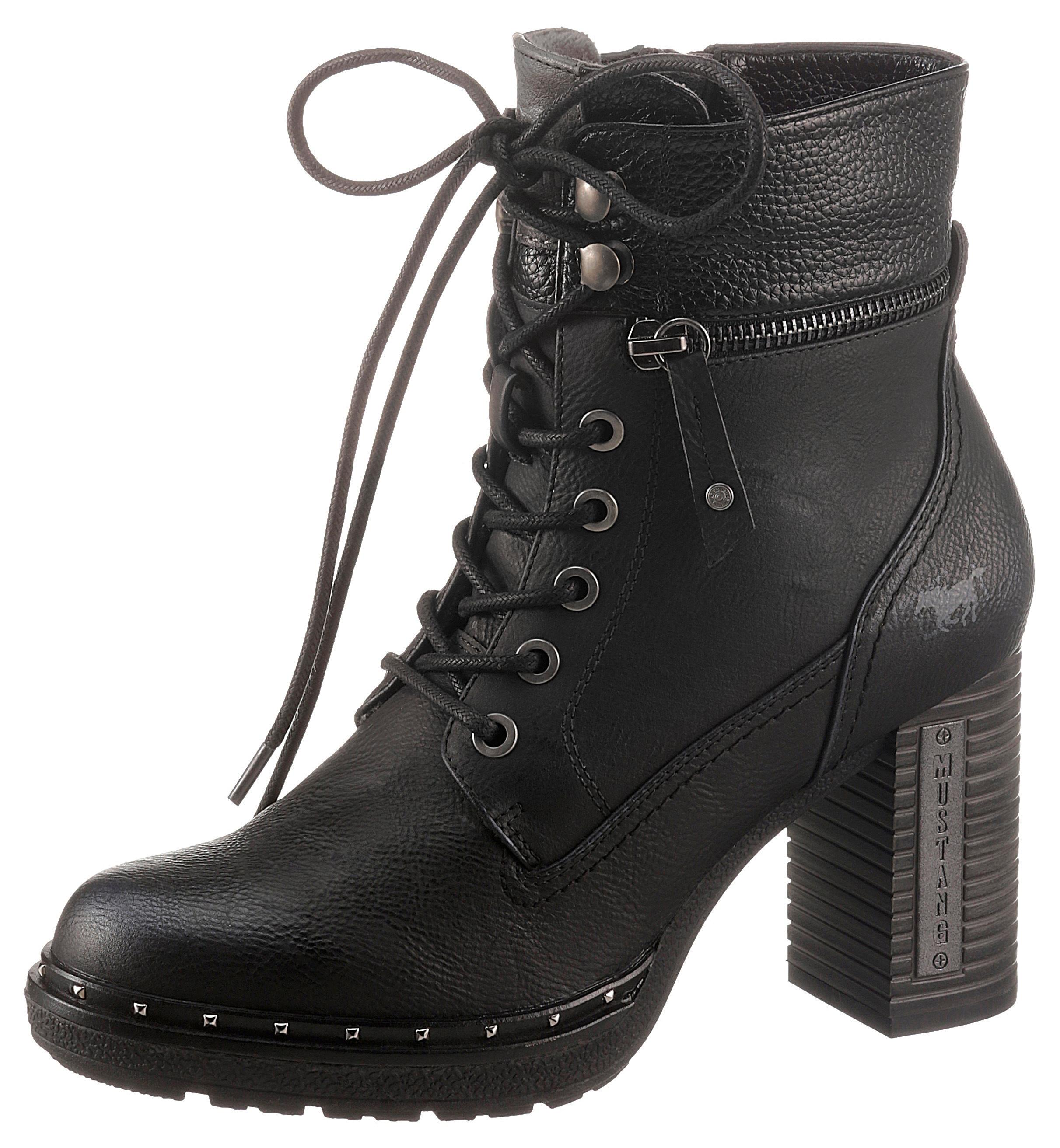 mustang shoes -  Schnürstiefelette, mit Nieten am Plateau