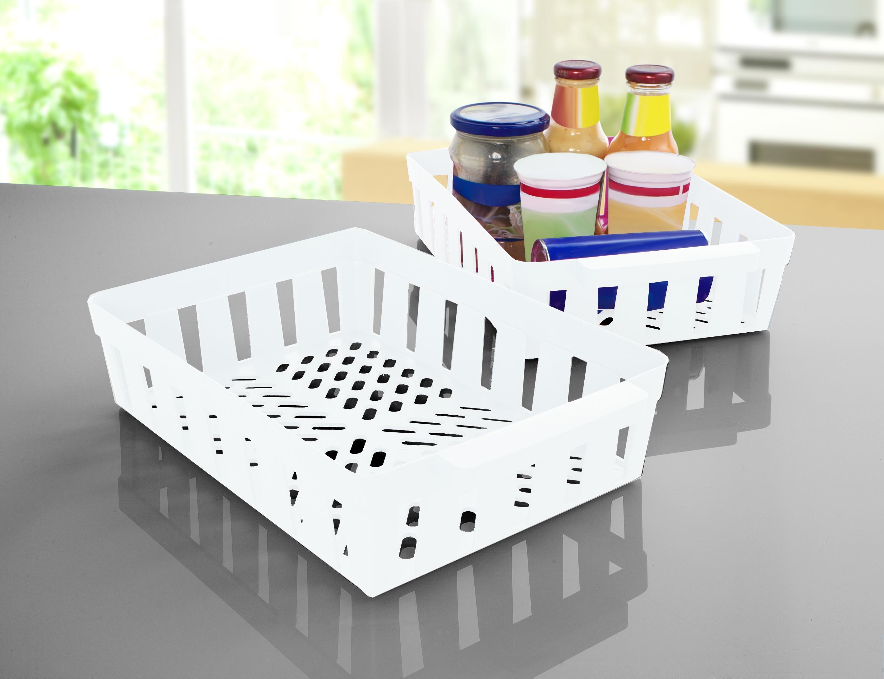 Ruco Aufbewahrungskorb, (Set, 4 St.), für den Kühlschrank, Kunststoff weiß Küchen-Ordnungshelfer Küchenhelfer Küche Aufbewahrungskorb