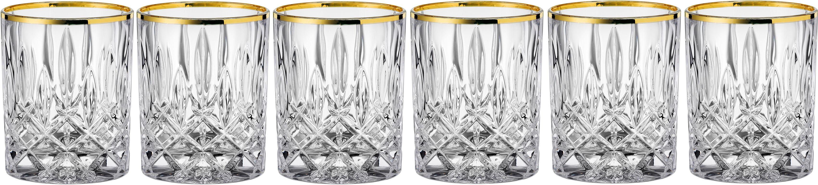 Nachtmann Whiskyglas Noblesse Gold edition, (Set, 6 tlg.), mit veredeltem Goldrand, 6-teilig, 295 ml beige Kristallgläser Gläser Glaswaren Haushaltswaren